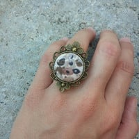 Filigree Ring, Vintage Fabric Flower Ring, Cocktail Ring, Unique Rings for Women, Adjustable Ring, Unique Gift Idea