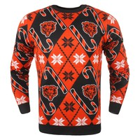 Chicago Bears - Mens Official NFL Candy Cane Repeat Crew Neck Sweater