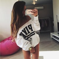 Black Friday Women Hoodie Fashion Brand Pink Letter Print Sweatshirt Knitted Long Sleeve Pullovers Polerones Mujer Harajuku Tops