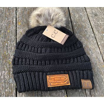 Black Beanie Hat with Pom Feather Tooled Leather Patch Hat