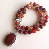 Agate Jewelry, Necklace, Sterling Silver, Sterling Silver Agate Pendant, OOAK, Feminine Necklace