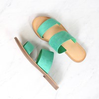harmony - double strap faux suede sandal - emerald