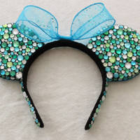 Turquoise, Green, & Clear Rhinestone Minnie Mouse Ears - MADE TO ORDER