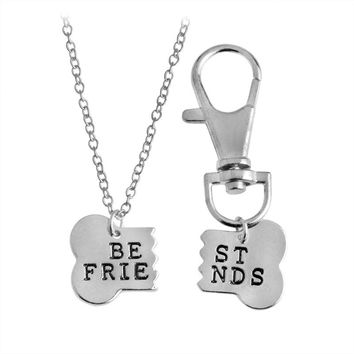 """Dog Bone """"Best Friends"""" Charm Necklace and Collar"""