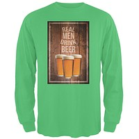 St. Patricks Day - Real Men Drink Beer Irish Green Adult Long Sleeve T-Shirt