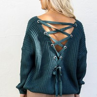 Cocktail Casual Teal Lace Up Back Sweater