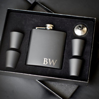3 Personalized Groomsmen Gifts - THREE Custom Engraved Black Flask Gift Sets