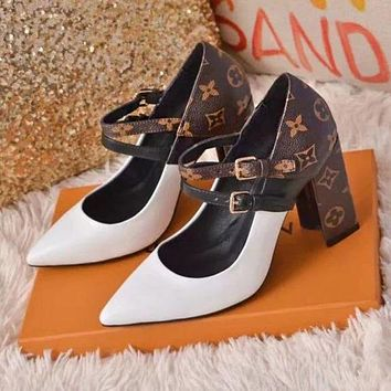 LV Louis Vuitton Hot Sale Trending Women Stylish Princess Pointed High Heeled Sandals Shoes White