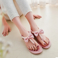 Women new fashion spring summer bow pearl flip-flop gladiator elastic strap flat heel sandals slipper shoes plus size 40-45