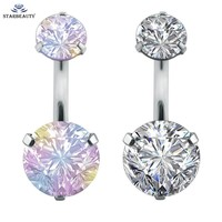 New Brand AAA Zircon Jeweled Style Belly Button Ring Body Piercing Jewelry Navel Piercing 316L Stainless steel Belly Earrings