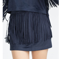 Navy Fringed Zippered Mini Skirt