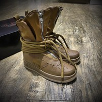 Sale Newest Nike SF Air Force 1 High AF1 Beige Functional Boots Dark Brown AA1128-204
