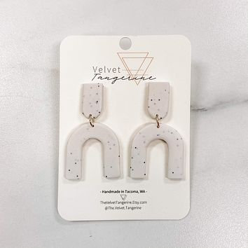 White Speckled Arch Polymer Clay Earrings