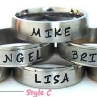 Personalized Hand Stamped Name Rings