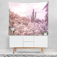Pink Cactus Modern Chic Microfiber Wall Tapestry