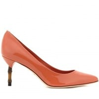 KRISTEN BAMBOO-EFFECT PATENT-LEATHER PUMPS