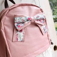 Fashion Lace Backpack with Red Floral Bow-Pink from styleonline