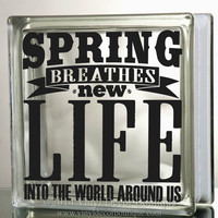 Spring breathes new life into the world Art Glass Block Decal Tile Mirrors DIY Decal for Glass Blocks spring life