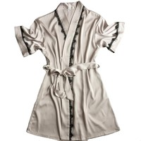 Summer Hot Sale Women's Satin Lace Short Robe Solid Kimono Bathrobe Gown Sexy Peignoir Wedding Bride Bridesmaid Robe Dress