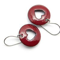 Red Heart Earrings, Enamel Jewelry, Copper and Sterling Silver, Valentine's Day, Oxblood Red