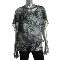 Style & Co. Womens Printed Banded Bottom Blouse