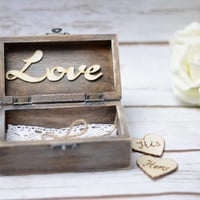 Wedding Ring Box Rustic Personalized Bearer Love Sign Ring Holder His and Hers Wedding