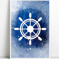 Watercolor Ship Wheel Blue Nautical Decor Navy Vintage rustic Boat Helm Art Beach House Bathroom Art Antique Ocean Coastal decor wall art