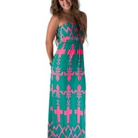 R. Rouge Women's Teal & Neon Pink Cross Strapless Maxi Dress