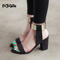 Hot Fashion Ankle Strap Glitter Bling Square High Heel Sandals Women's shoes Black Drop Ship Factory
