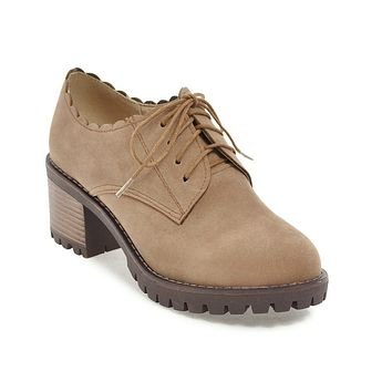 Lace Up Suede Chunky Heel Shoes for Women 1646