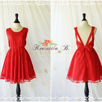 A Party V Shape Bright Red Lace Dress Red Roses Lace Party Dress Wedding Bridesmaid Dress Prom Cocktail Backless Dress Red Lace Dress XS-XL