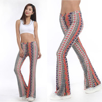 American Clothing Tribal Vertical Aztec print Bell Bottom Legging Soft Women Flare pant Wide leg Printed Legging 2016 Style1011