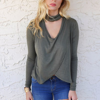 Martorana Dark Olive Long Sleeve Open Neck Top