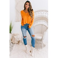 Give Me More V-Neck Long Sleeve Top (Caramel)