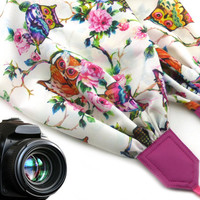 InTePro owls scarf camera strap. Pink DSLR / SLR Camera Strap. Colorful camera strap with flowers and birds.