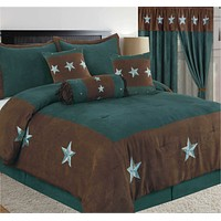 Rustic Turquoise Western Rustic Star Microsuede Comforter - 7 Pieces Set
