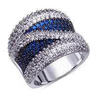 Mansaku New   Fashion Blue Colors Women Ring Top Quality Montana Siam Emerald Cubic Zirconia Pave Setting Wedding dress evening