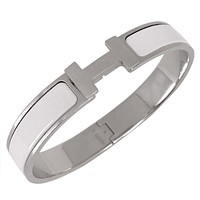 HERMES Auth Clic Clac H GM Bracelet Bangle White Free Shipping Excellent #1651 Tagre™