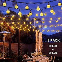 Brightech Ambience Pro Solar Powered LED String Lights – 1 Watt G40 Globe Bulbs, Vintage Edison Style- Commercial Grade Outdoor Hanging Strand- 27 ft Café Bistro Weatherproof Strands - 2000maH Panel