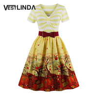 VESTLINDA Vintage 50s 60s Rockabilly Party Dresses Women Yellow Short Sleeve Summer Dress Robe Plus Size Pleated Bow Sash Dress