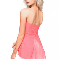 STRAPLESS FLARED KNIT TOP