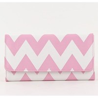 StylesiLove Womens Two Tone Chevron Zigzag Trifold Leatherette Long Wallet Pink