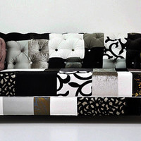 b&w chesterfield patchwork sofa by namedesignstudio on Etsy