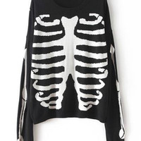 Round Neck Skull Print Long Sleeve Knitted Sweater
