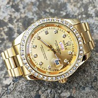 Rolex Love road Trending Women Men Diamond Watch Wristwatch Gold B