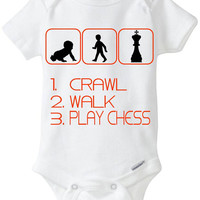 Crawl Walk Chess - New Baby Gift: Gerber Onesuit brand bodysuit - for a new mom or dad who loves to Play Chess