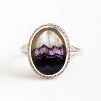 Vintage Sterling Silver Bluejohn Fluorite English Ring - Size 7 1/2 Retro Unique Banded Oval Purple White Gem Hallmarked Sheffield Jewelry