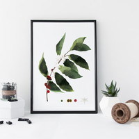 Coffee plant wall art, botanical art print, watercolor poster, nature, leaf art,  minimal & simple illustration, home decor, coffee art