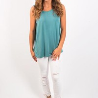 I Kid You Knot Tank- Teal