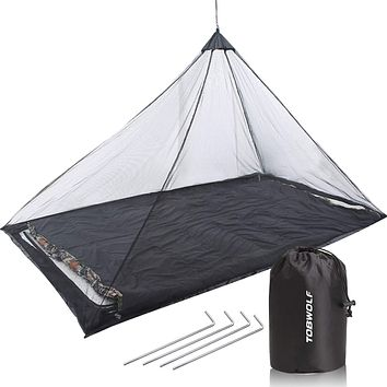 TOBWOLF Hammock Net, Mosquito Net, Compact & Lightweight Outdoor Travel Protect Net with Carry Bag for Sleeping Bags, Bed, Tent Mosquito Net (black)
